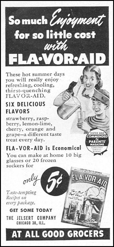 FLA-VOR-AID SOFT DRINK MIX WOMAN'S DAY 08/01/1949 p. 98