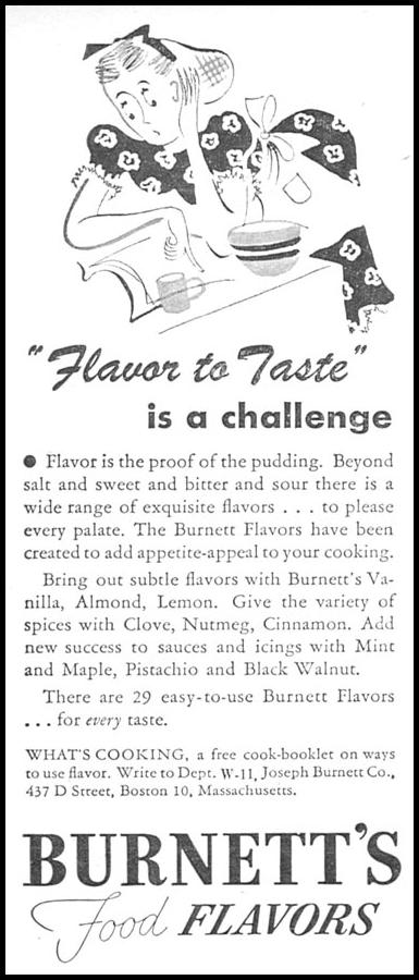 BURNETT'S FOOD FLAVORS WOMAN'S DAY 11/01/1945 p. 88