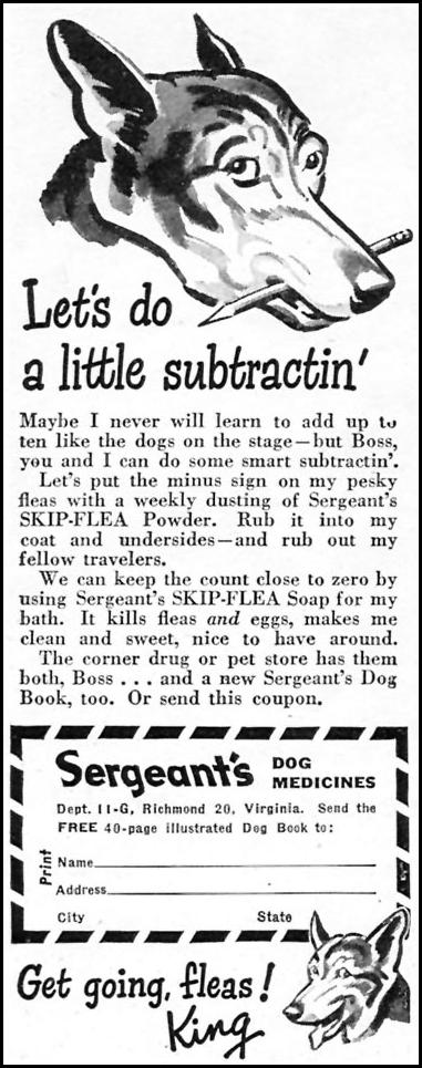 SERGEANT'S SKIP-FLEA POWDER WOMAN'S DAY 07/01/1945 p. 66