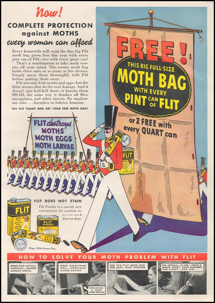 FLIT INSECTICIDE GOOD HOUSEKEEPING 04/01/1936 p. 253