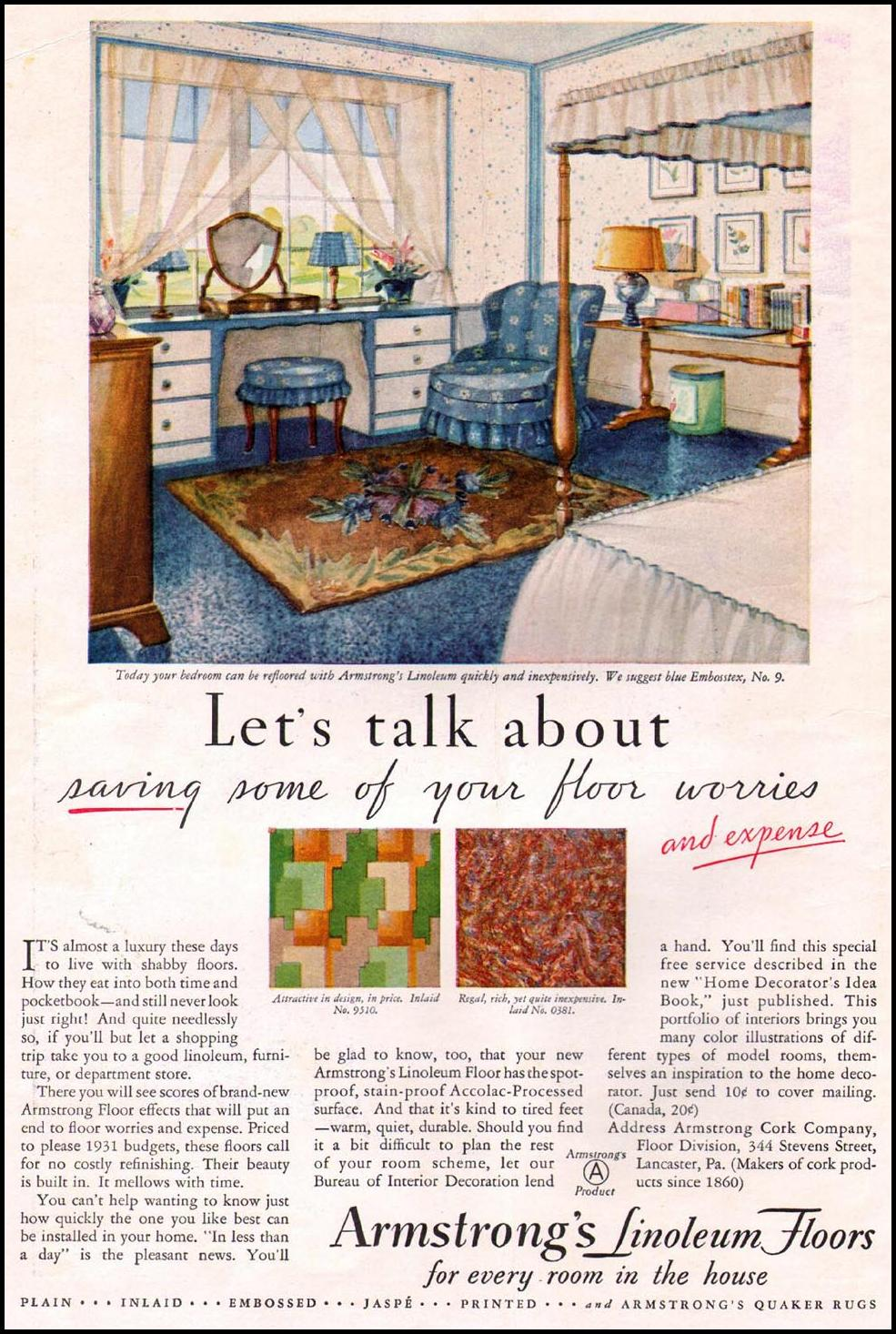 ARMSTRONG LINOLEUM FLOORS BETTER HOMES AND GARDENS 08/01/1931 INSIDE FRONT