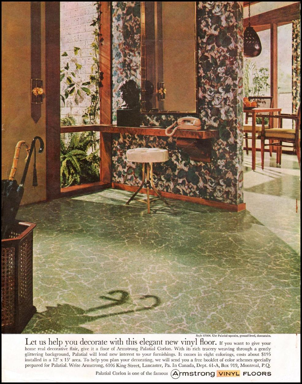 ARMSTRONG VINYL FLOORS LADIES' HOME JOURNAL 06/01/1961 INSIDE FRONT