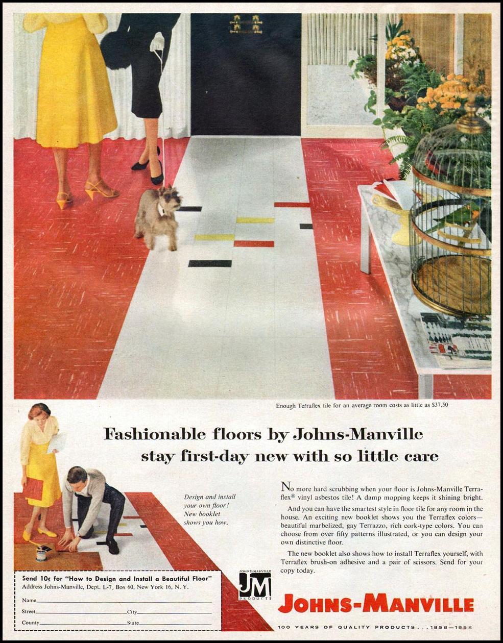 JOHNS-MANVILLE VINYL ASBESTOS TILE LIFE 11/24/1957