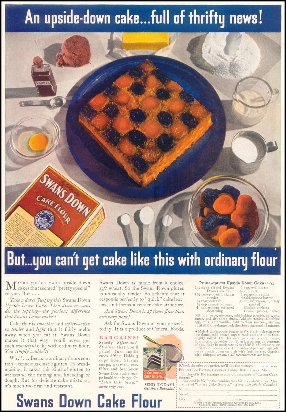 SWANS DOWN CAKE FLOUR GOOD HOUSEKEEPING 03/01/1935