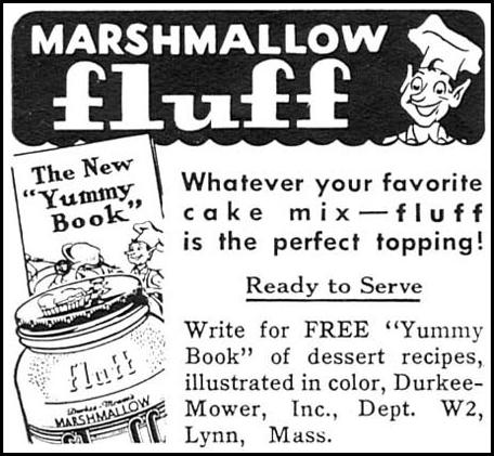 MARSHMALLOW FLUFF WOMAN'S DAY 02/01/1954 p. 176