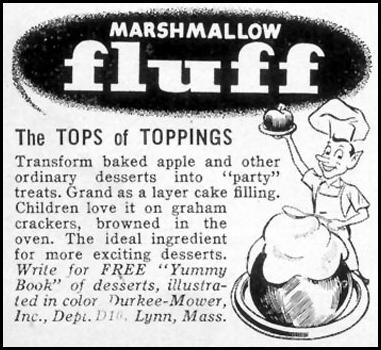 MARSHMALLOW FLUFF WOMAN'S DAY 10/01/1954 p. 172