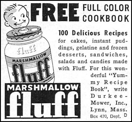 MARSHMALLOW FLUFF WOMAN'S DAY 10/01/1956 p. 126