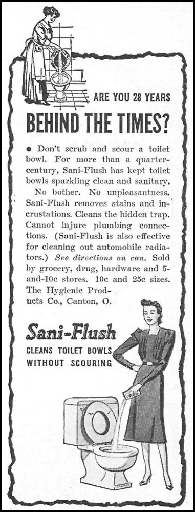 SANI-FLUSH TOILET BOWL CLEANER WOMAN'S DAY 05/01/1940 p. 50