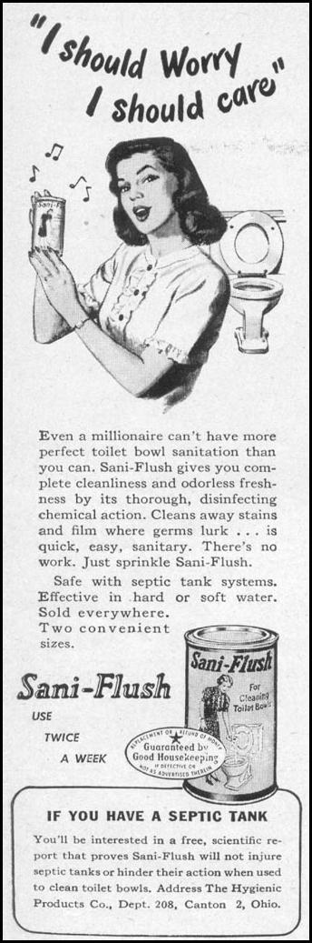 SANI-FLUSH TOILET BOWL CLEANER WOMAN'S DAY 05/01/1947 p. 108