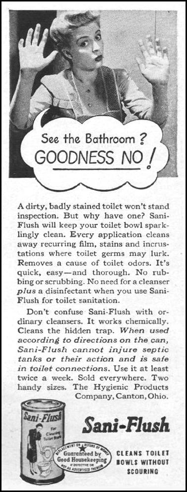 SANI-FLUSH TOILET BOWL CLEANER LIFE 10/25/1943 p. 122