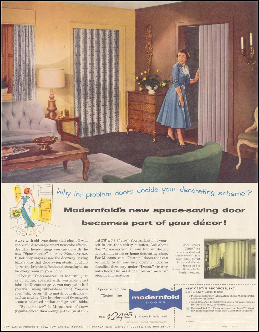 MODERNFOLD SPACEMASTER DOORS SATURDAY EVENING POST 04/09/1955 p. 131