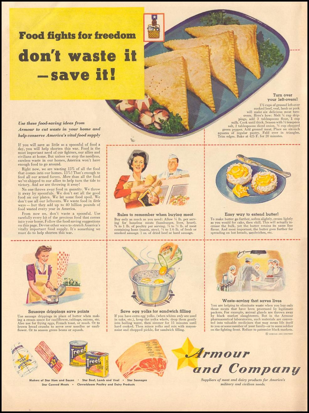 WARTIME FOOD CONSERVATION LIFE 11/08/1943