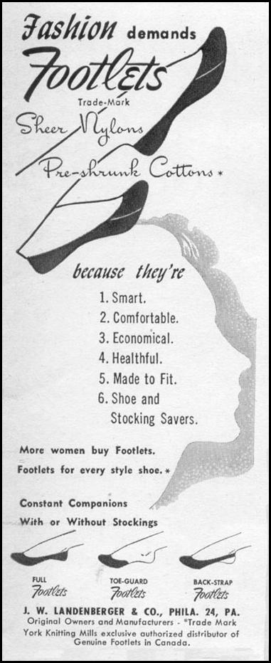FOOTLETS SHEER NYLONS & PRE-SHRUNK COTTONS LIFE 06/05/1950 p. 13