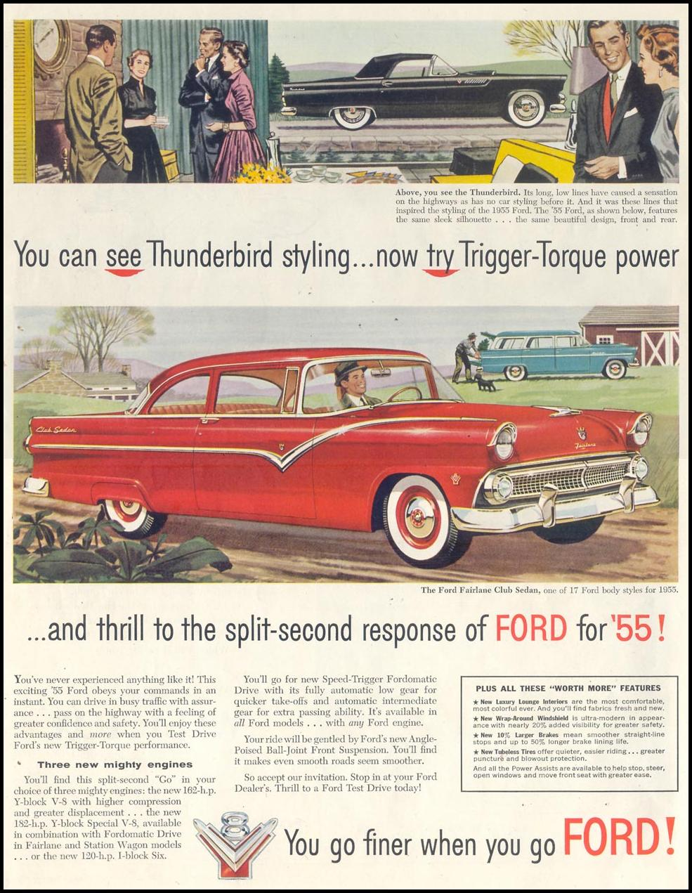 FORD AUTOMOBILES SATURDAY EVENING POST 01/08/1955 p. 2