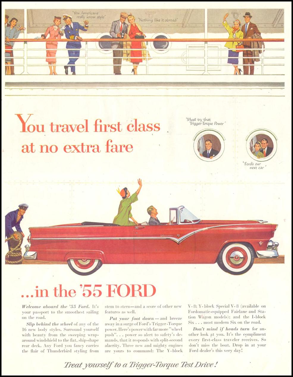 FORD AUTOMOBILES SATURDAY EVENING POST 03/26/1955 p. 58
