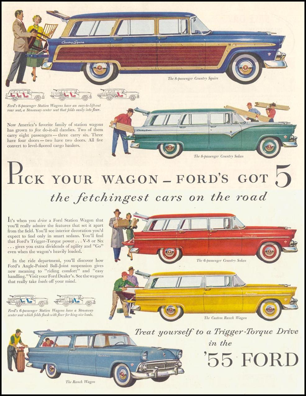 FORD AUTOMOBILES SATURDAY EVENING POST 04/09/1955