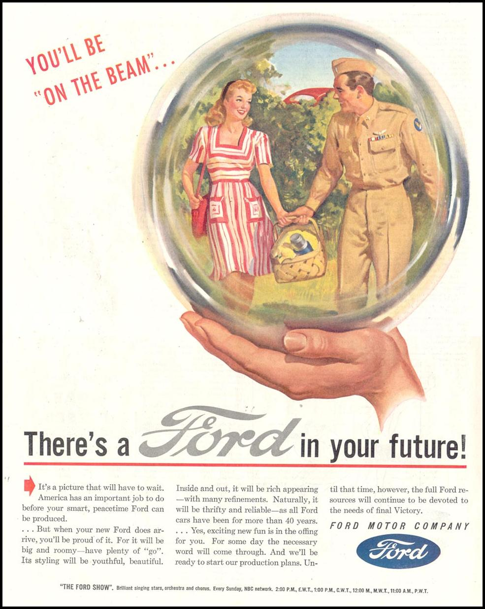 FORD AUTOMOBILES SATURDAY EVENING POST 05/19/1945 p. 52