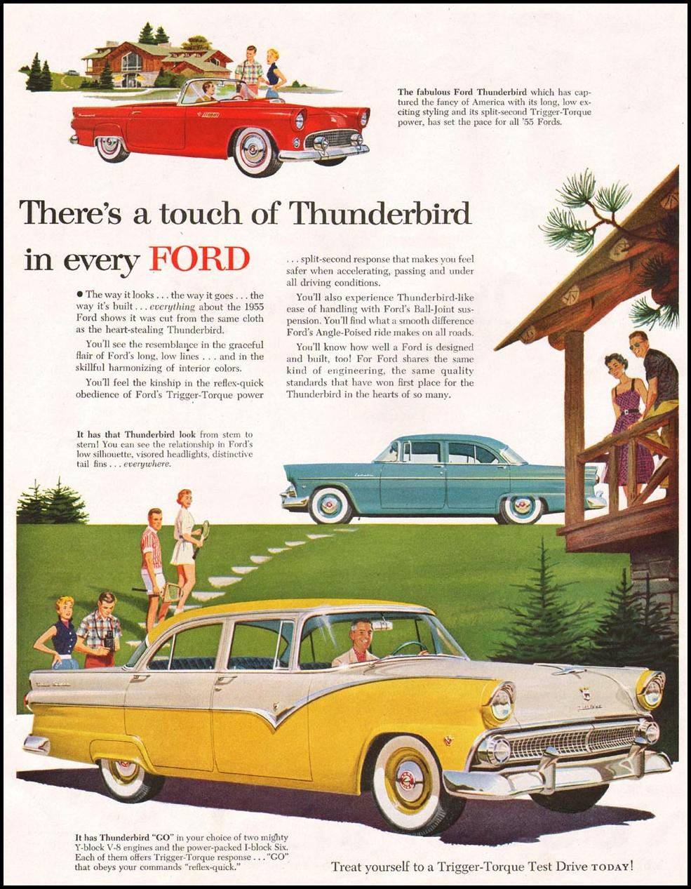 FORD AUTOMOBILES SATURDAY EVENING POST 06/04/1955