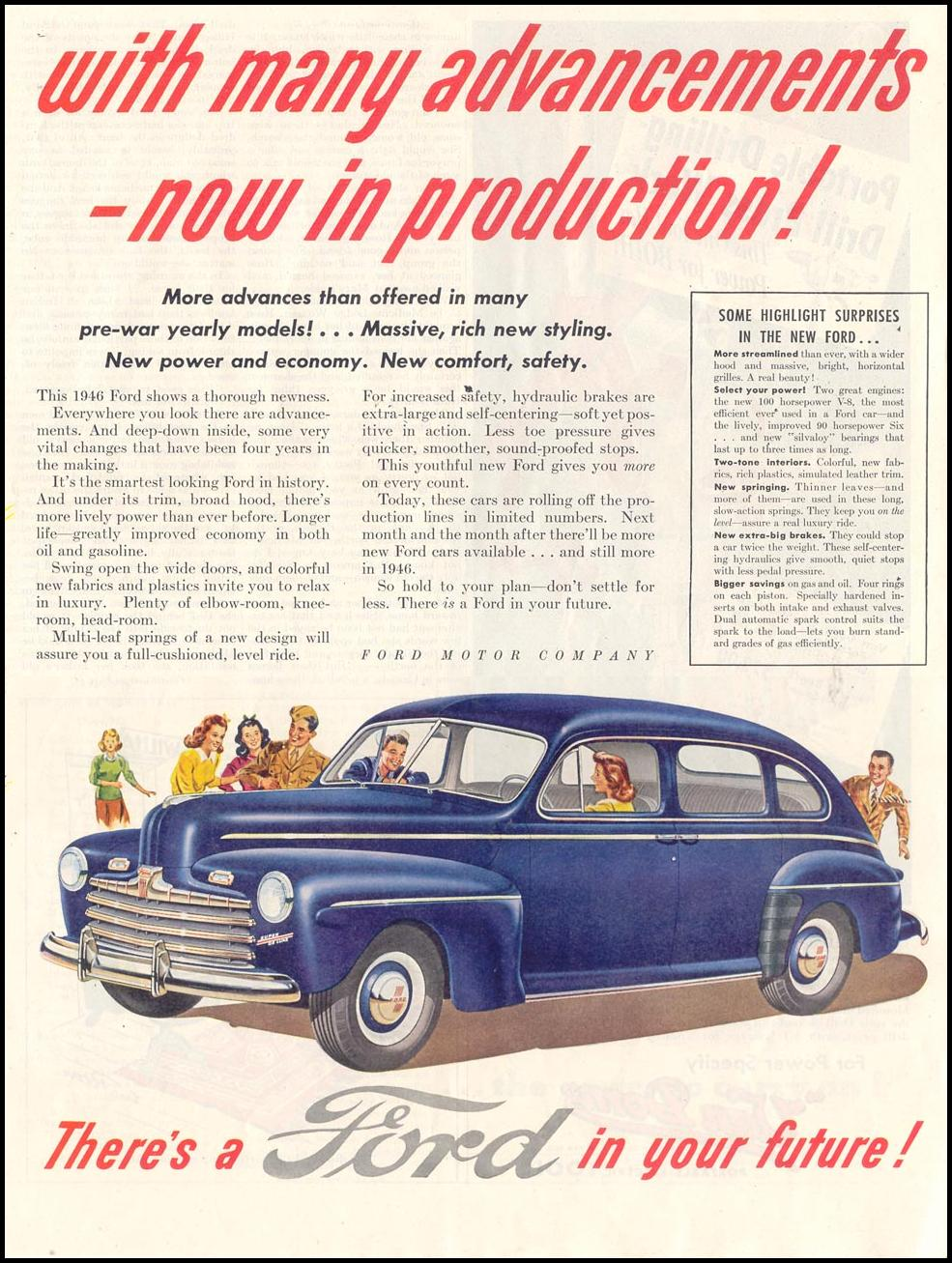 FORD AUTOMOBILES SATURDAY EVENING POST 10/06/1945 p. 59