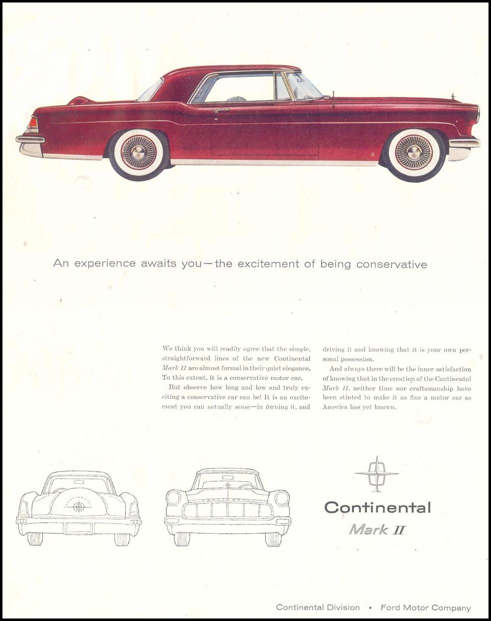 CONTINENTAL AUTOMOBILES SATURDAY EVENING POST 12/10/1955 p. 53