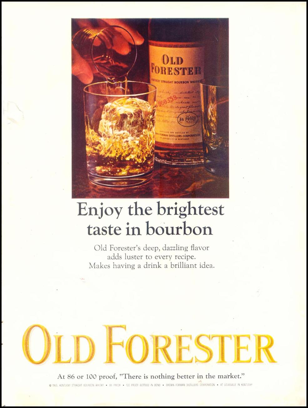OLD FORESTER KENTUCKY BOURBON WHISKEY TIME 03/11/1966 INSIDE BACK