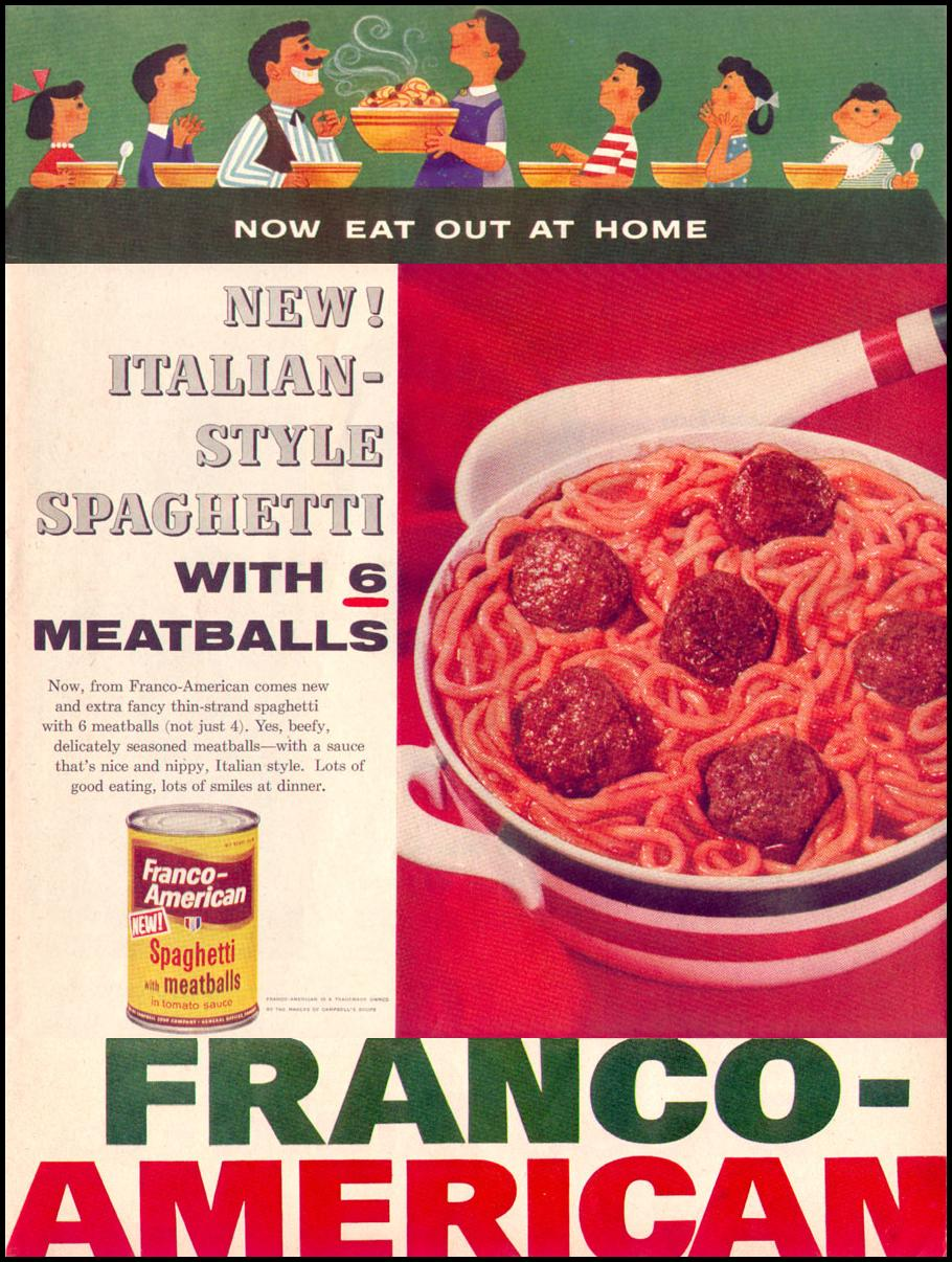 FRANCO-AMERICAN SPAGHETTI AND MEATBALLS LIFE 04/08/1957 p. 37
