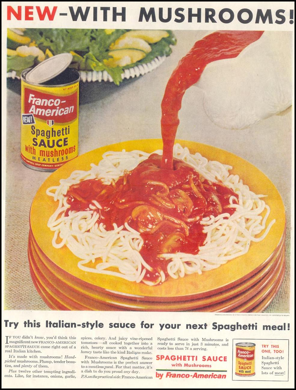 FRANCO-AMERICAN SPAGHETTI SAUCE WITH MUSHROOMS LIFE 10/29/1955 p. 41