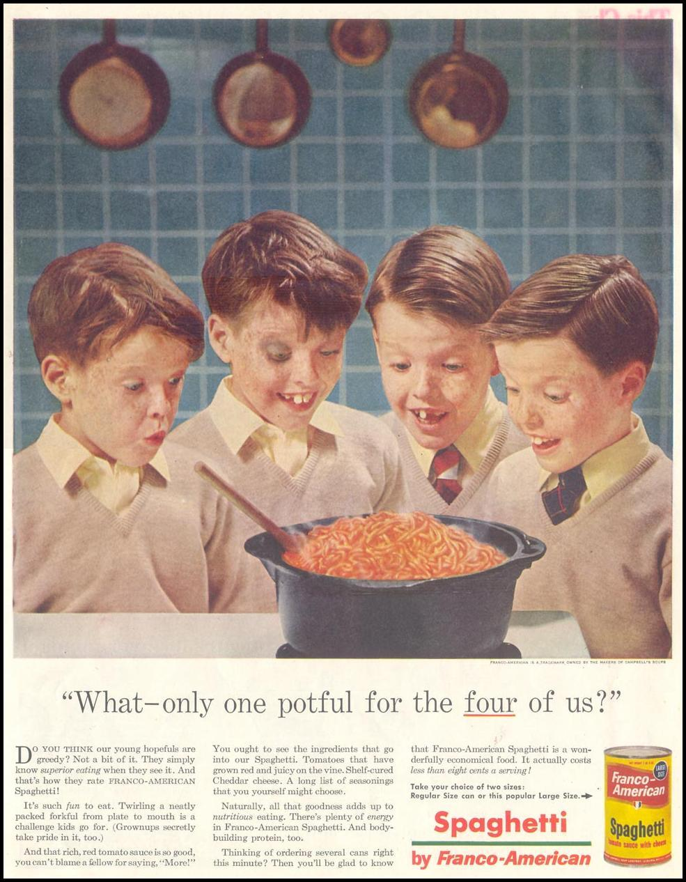 FRANCO-AMERICAN SPAGHETTI SATURDAY EVENING POST 12/10/1955