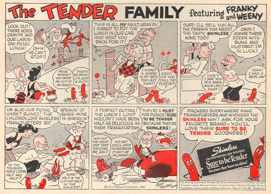 SKINLESS FRANKS WOMAN'S DAY 08/01/1949 p. 85