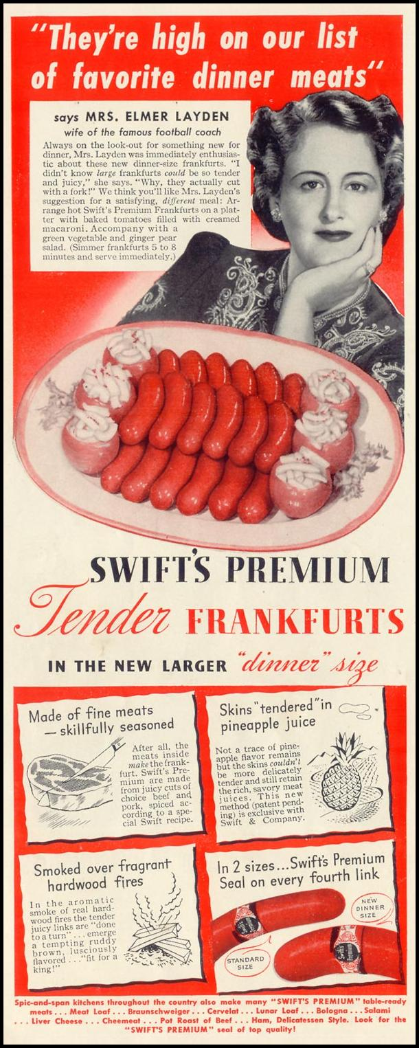 SWIFT'S PREMIUM DINNER SIZE FRANKFURTS LIFE 06/23/1941 p. 38