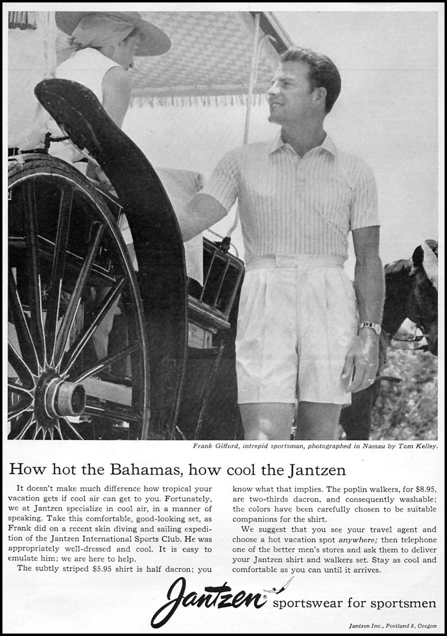 JANTZEN SPORTSWEAR FOR SPORTSMEN SPORTS ILLUSTRATED 05/11/1959 p. 6