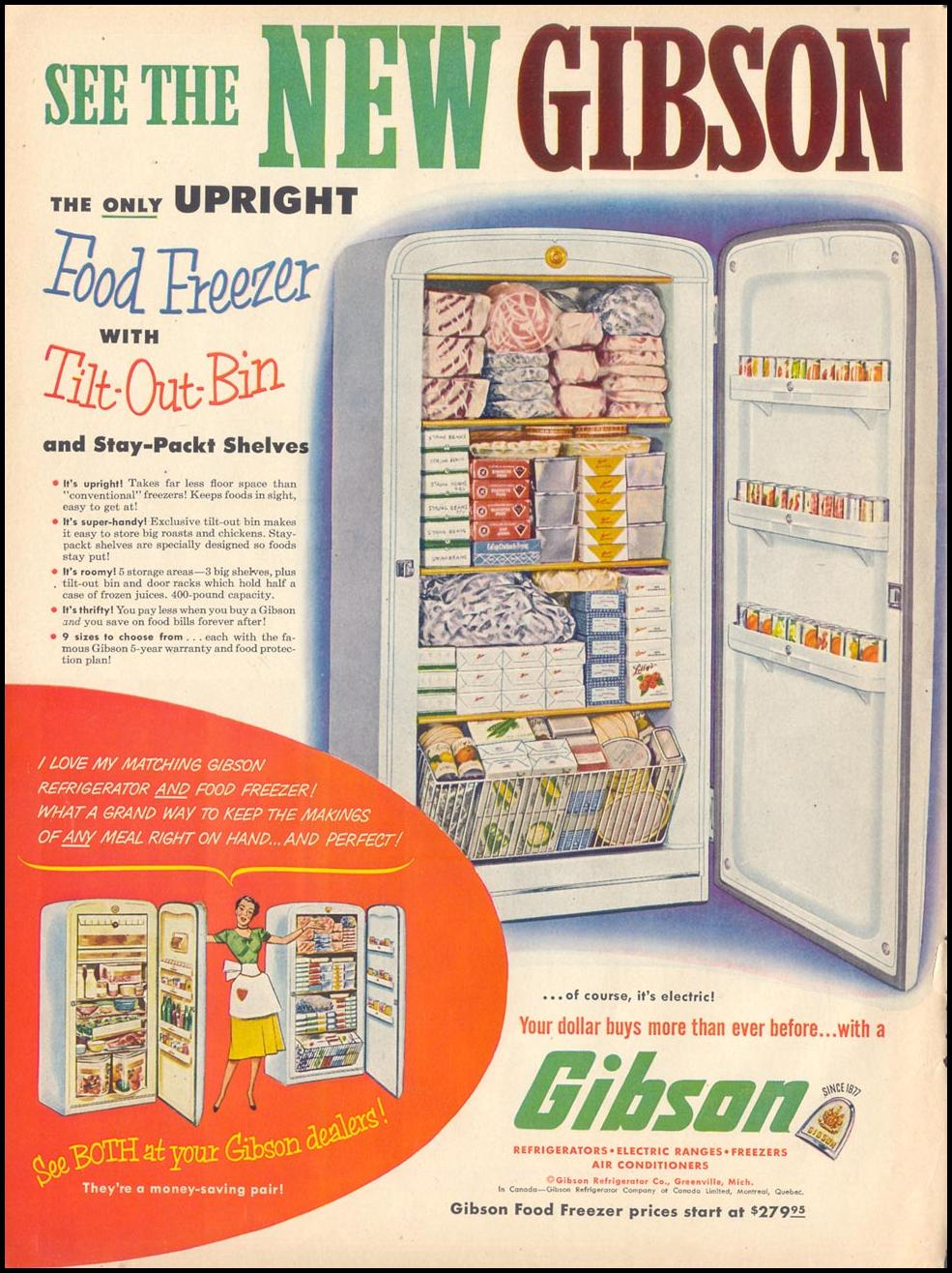 GIBSON UPRIGHT FOOD FREEZER LIFE 04/13/1953 p. 180