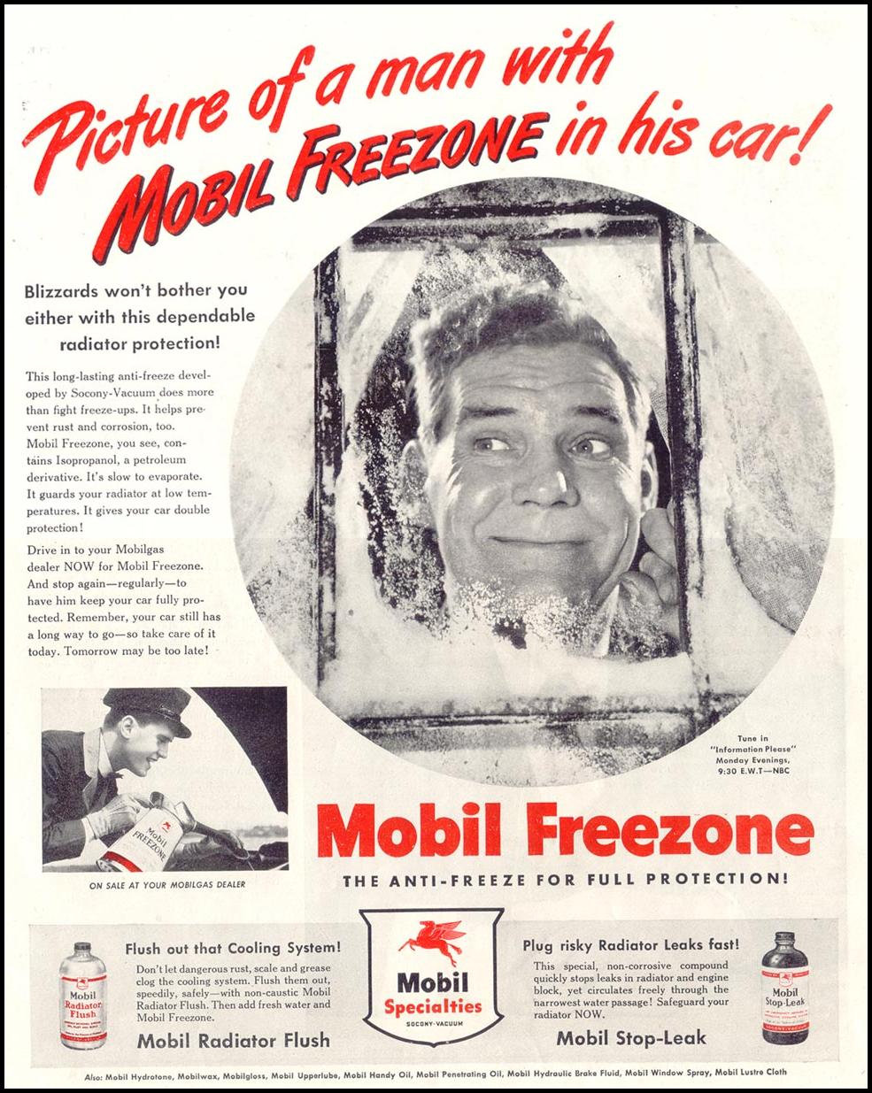 MOBIL FREEZONE ANTIFREEZE SATURDAY EVENING POST 10/06/1945