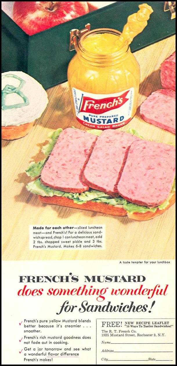 FRENCH'S PREPARED MUSTARD WOMAN'S DAY 02/01/1954 p. 21