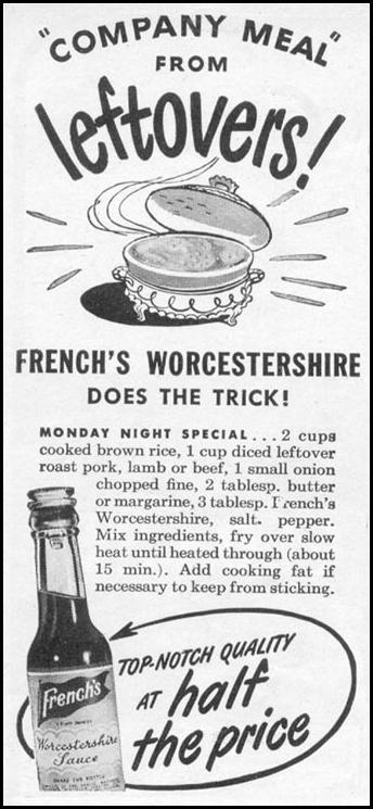 FRENCH'S WORCESTERSHIRE SAUCE WOMAN'S DAY 11/01/1945 p. 116