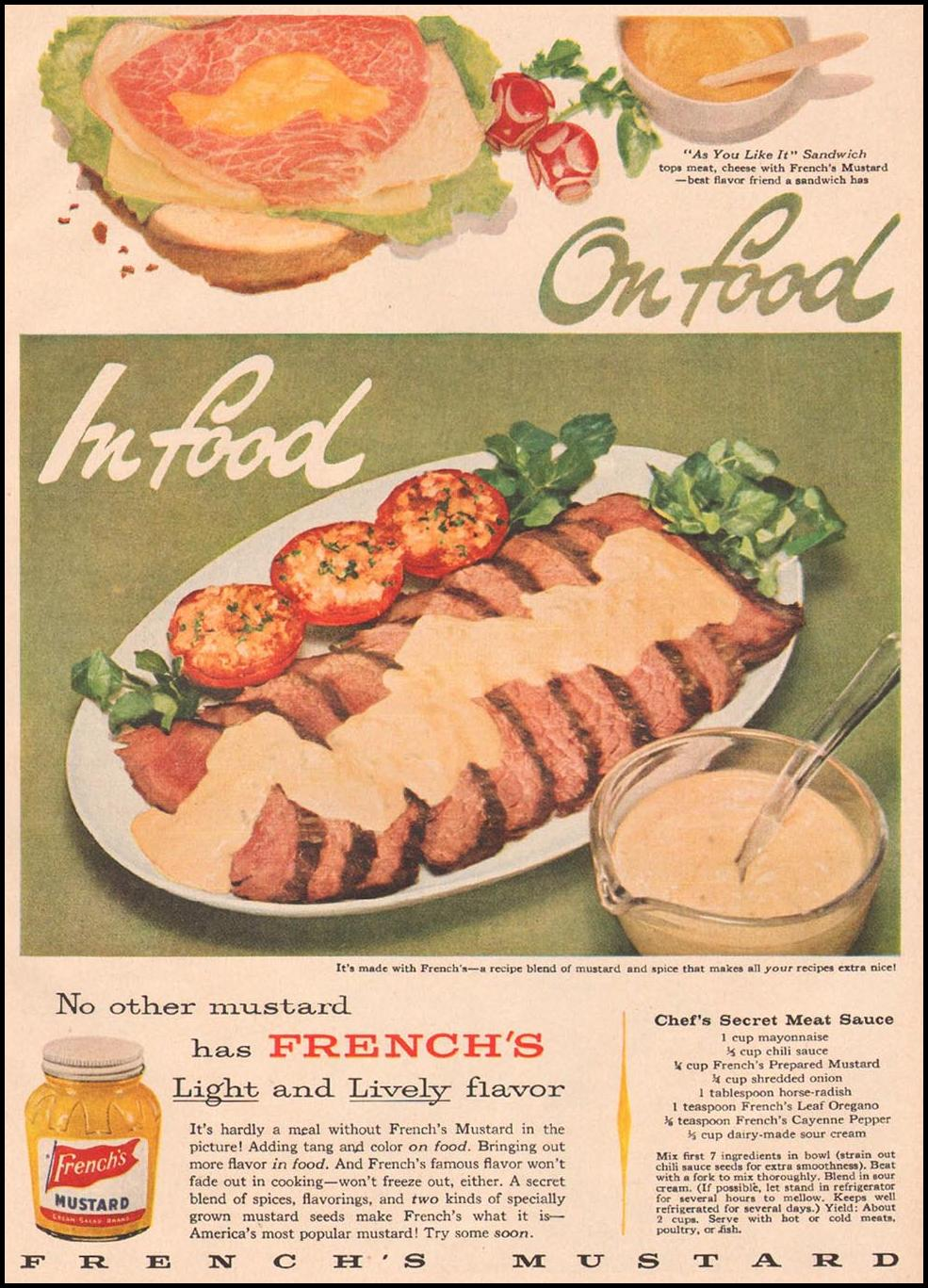 FRENCH'S PREPARED MUSTARD GOOD HOUSEKEEPING 05/01/1957 p. 139