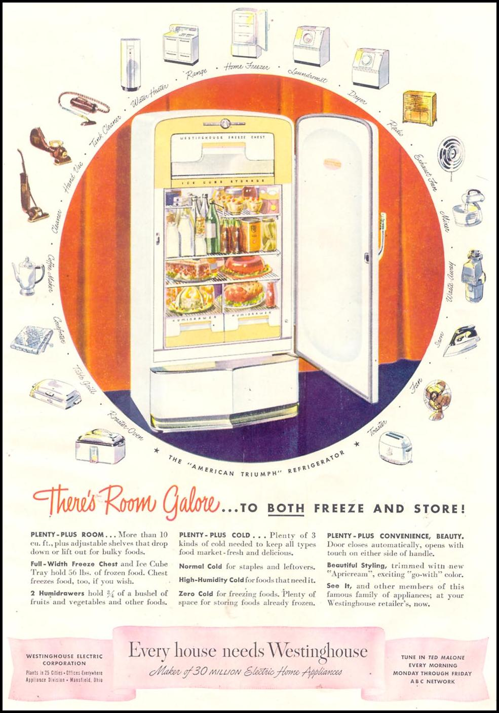 WESTINGHOUSE REFRIGERATORS GOOD HOUSEKEEPING 07/01/1948 p. 113