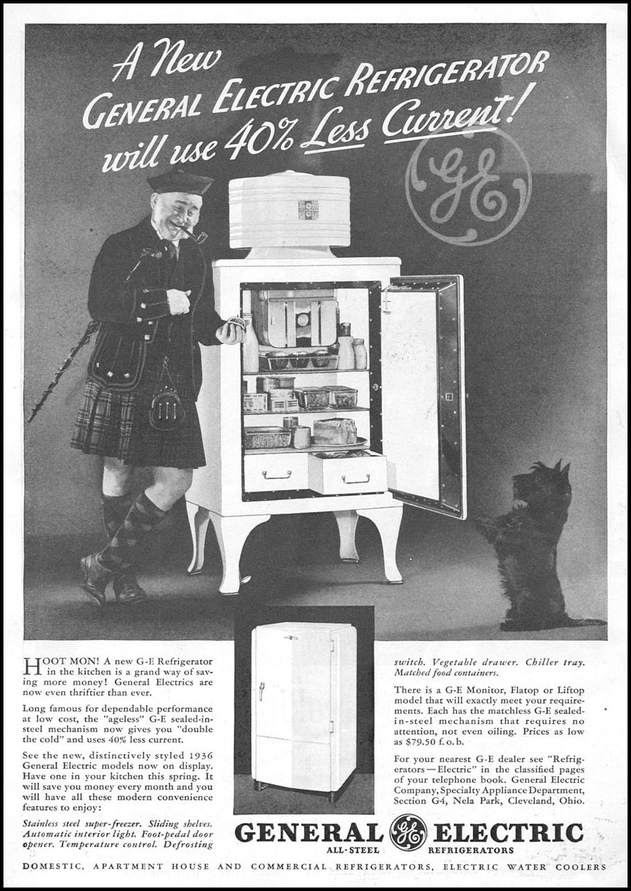 GENERAL ELECTRIC REFRIGERATORS GOOD HOUSEKEEPING 04/01/1936 p. 7