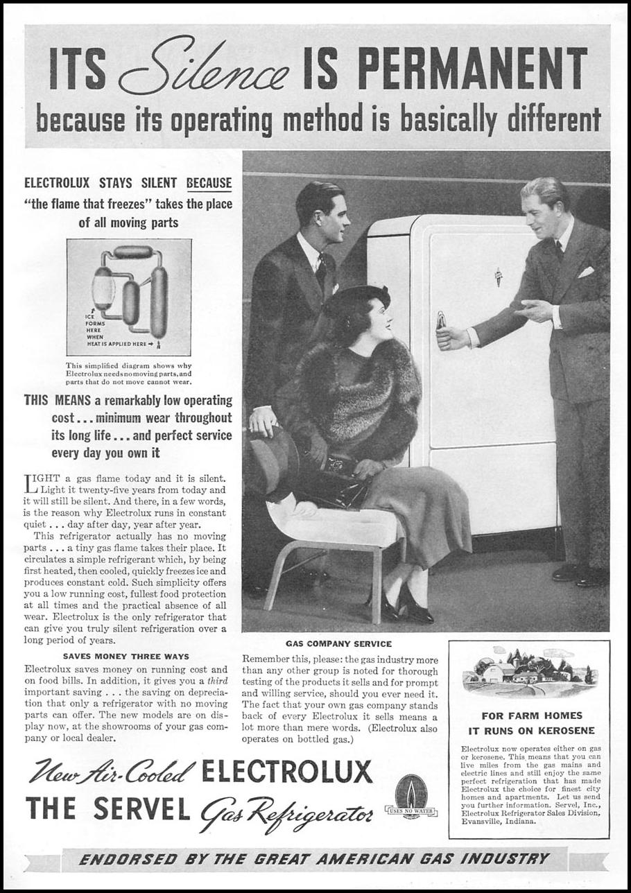 AIR-COOLED ELECTROLUX GAS REFRIGERATOR GOOD HOUSEKEEPING 04/01/1936 p. 173