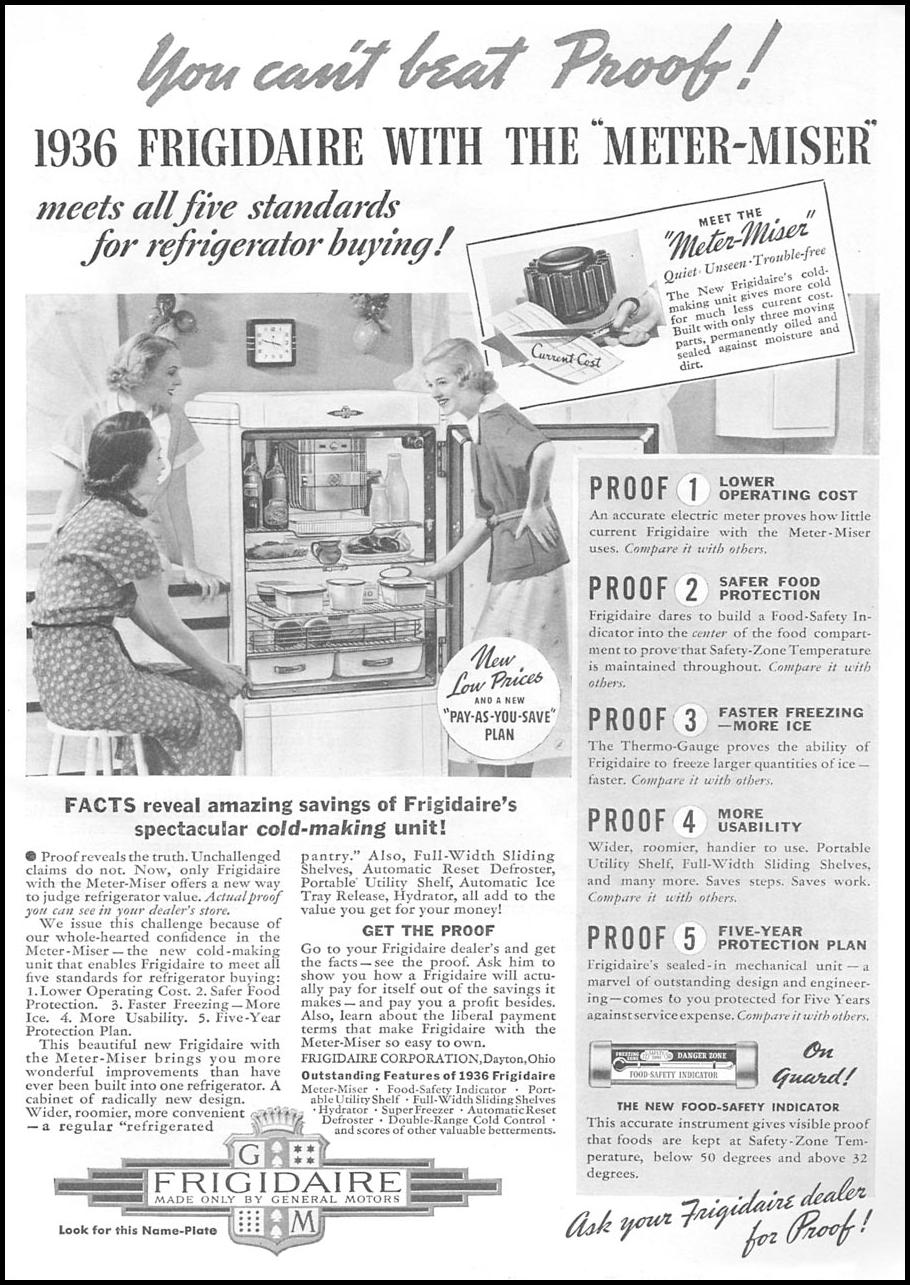 FRIGIDAIRE REFRIGERATOR GOOD HOUSEKEEPING 04/01/1936 p. 193