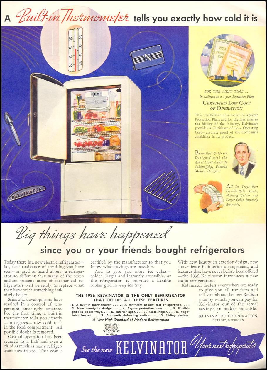KEVINATOR REFRIGERATORS GOOD HOUSEKEEPING 04/01/1936 p. 199