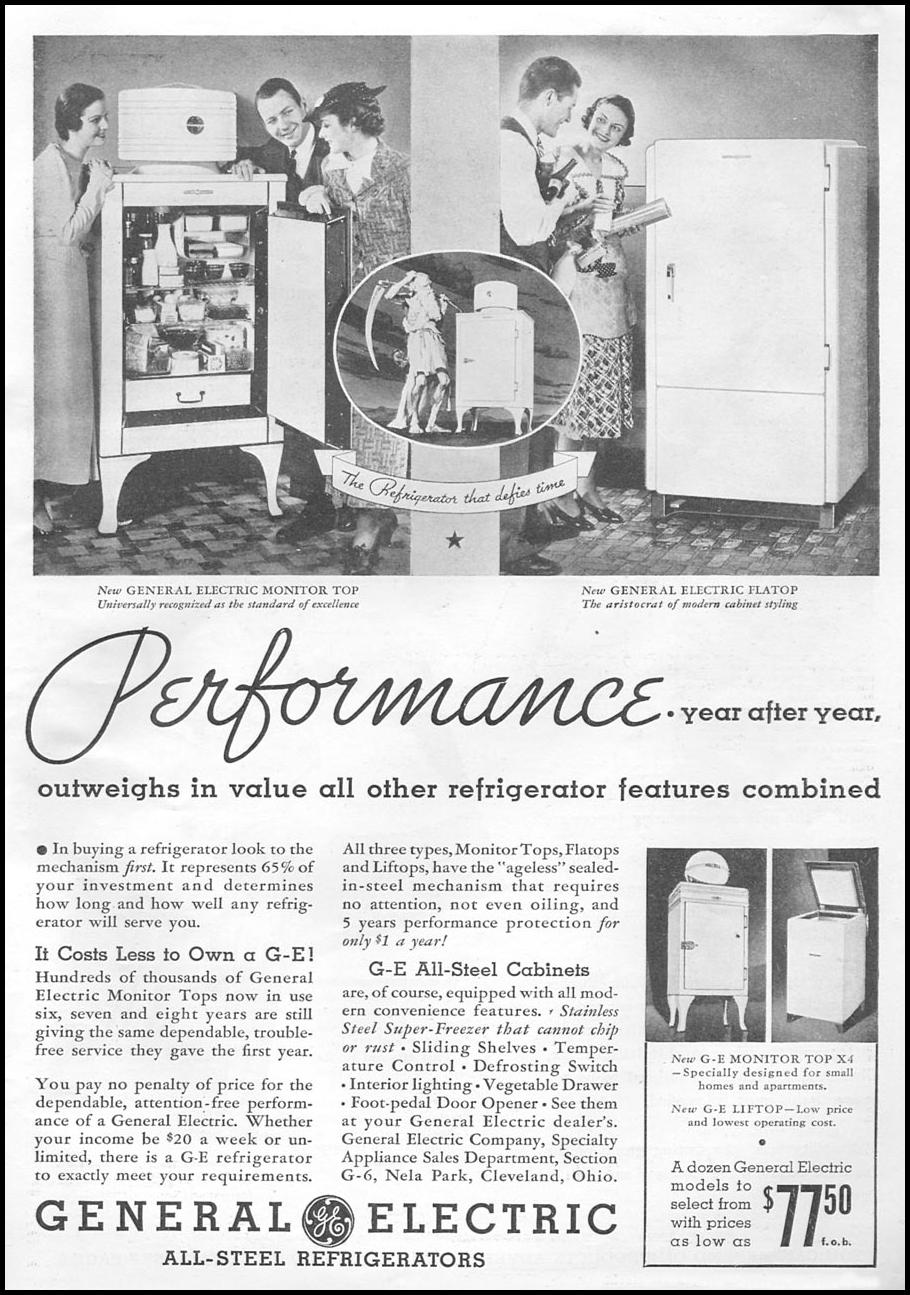 GENERAL ELECTRIC REFRIGERATORS GOOD HOUSEKEEPING 06/01/1935 p. 7