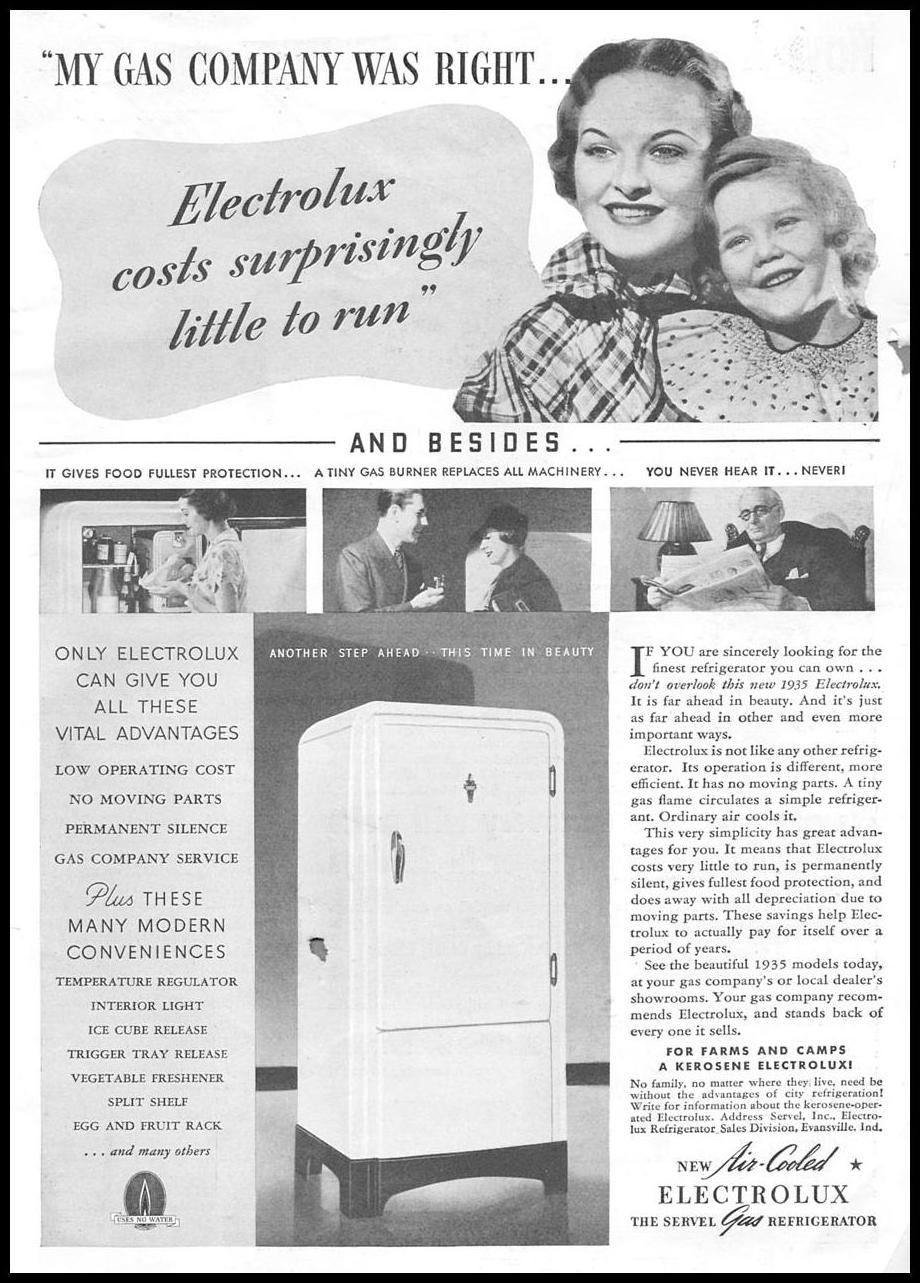 ELECTROLUX GAS REFRIGERATORS GOOD HOUSEKEEPING 06/01/1935 p. 227