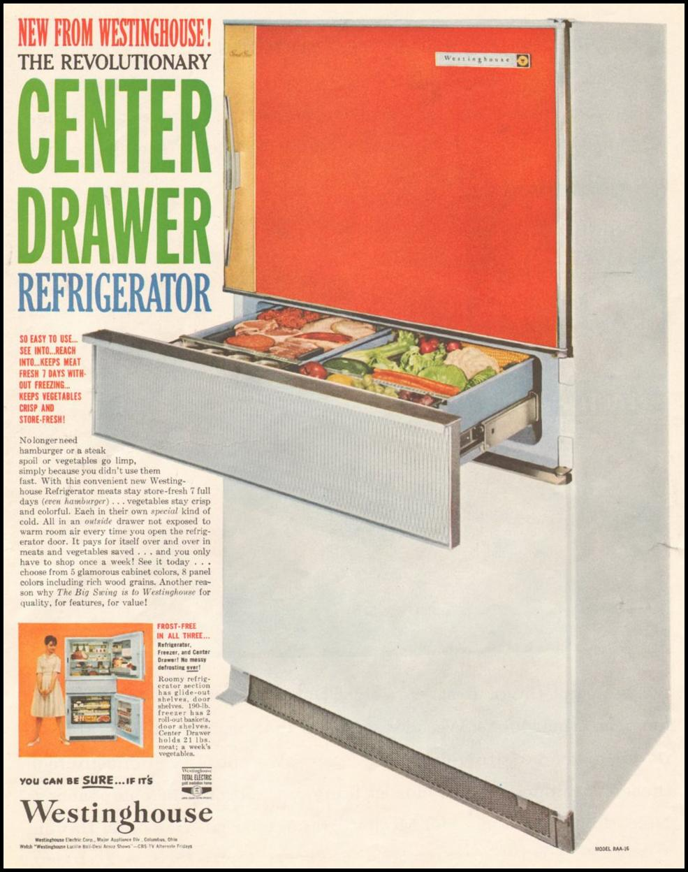 WESTINGHOUSE CENTER DRAWER REFRIGERATOR SATURDAY EVENING POST 06/11/1960 p. 12