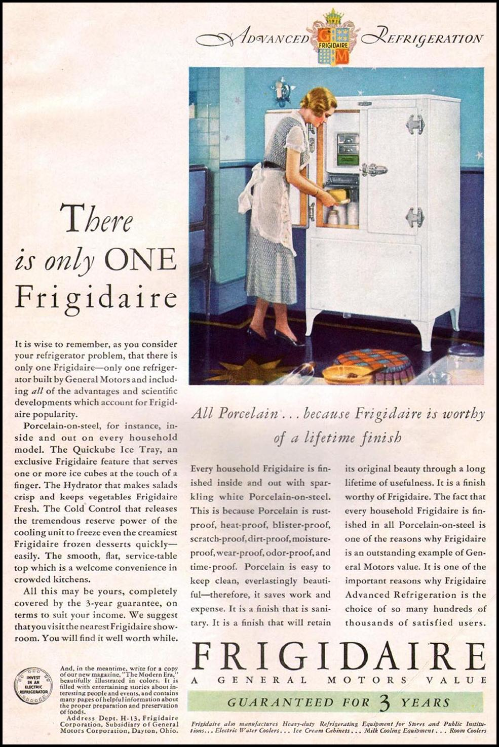 FRIGIDAIRE REFRIGERATORS BETTER HOMES AND GARDENS 09/01/1931 BACK COVER
