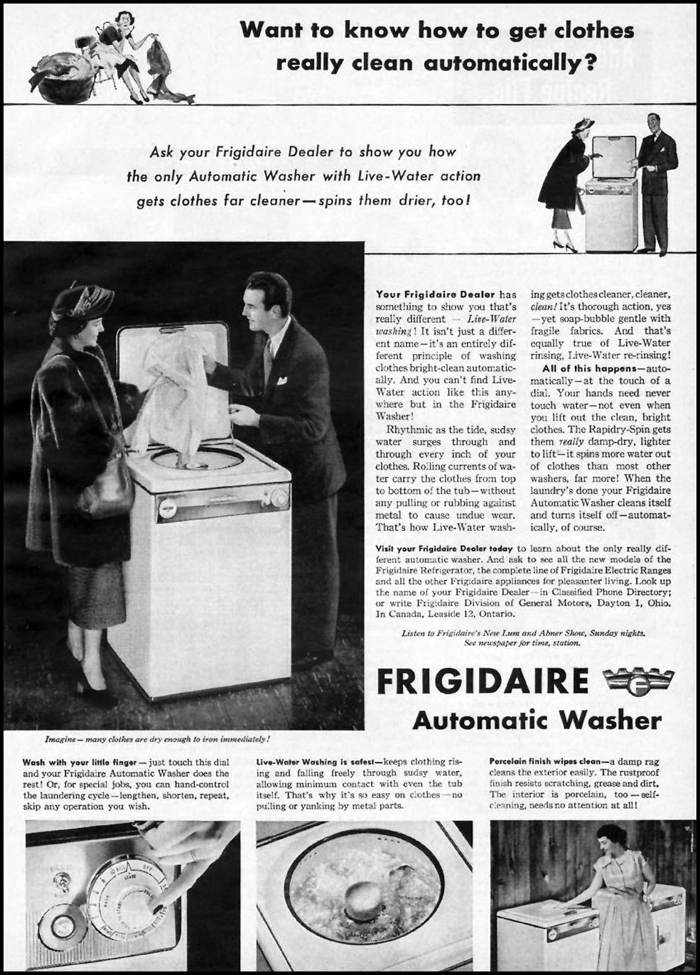 FRIGIDAIRE AUTOMATIC WASHERS WOMAN'S DAY 01/01/1949 p. 19