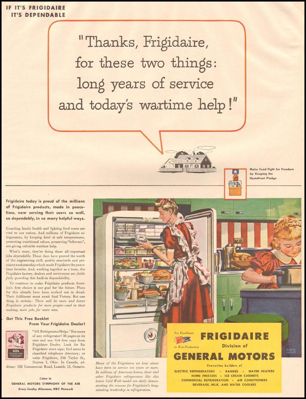 FRIGIDAIRE REFRIGERATORS LIFE 10/23/1944 p. 61