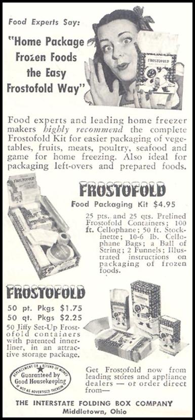 FROSTOFOLD FREEZER CONTAINERS GOOD HOUSEKEEPING 07/01/1948 p. 158