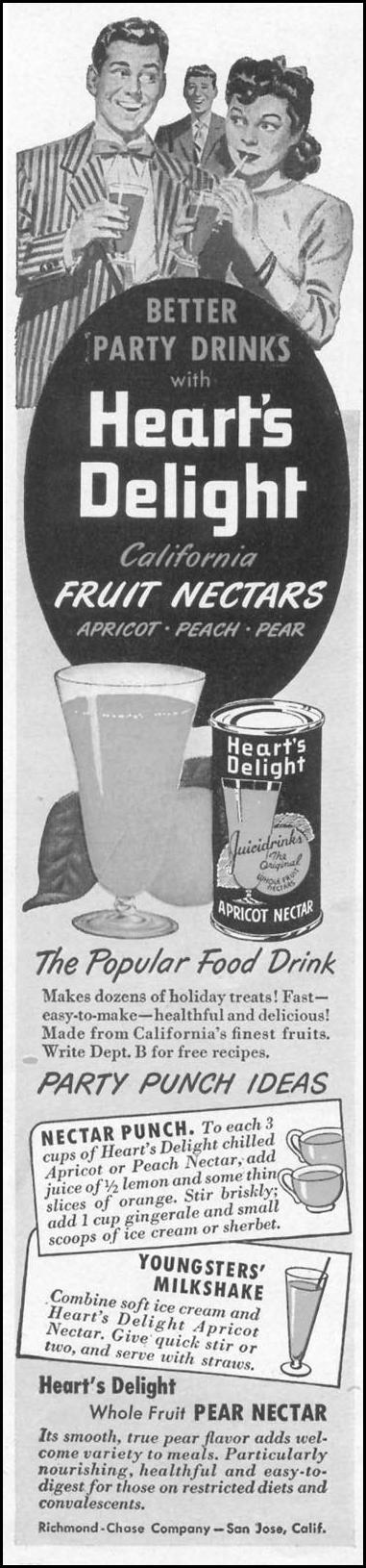 HEART'S DELIGHT FRUIT NECTARS WOMAN'S DAY 10/01/1949 p. 112