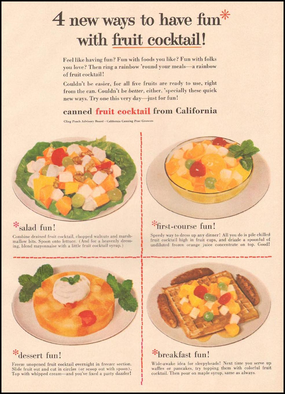 FRUIT COCKTAIL FROM CALIFORNIA GOOD HOUSEKEEPING 05/01/1957